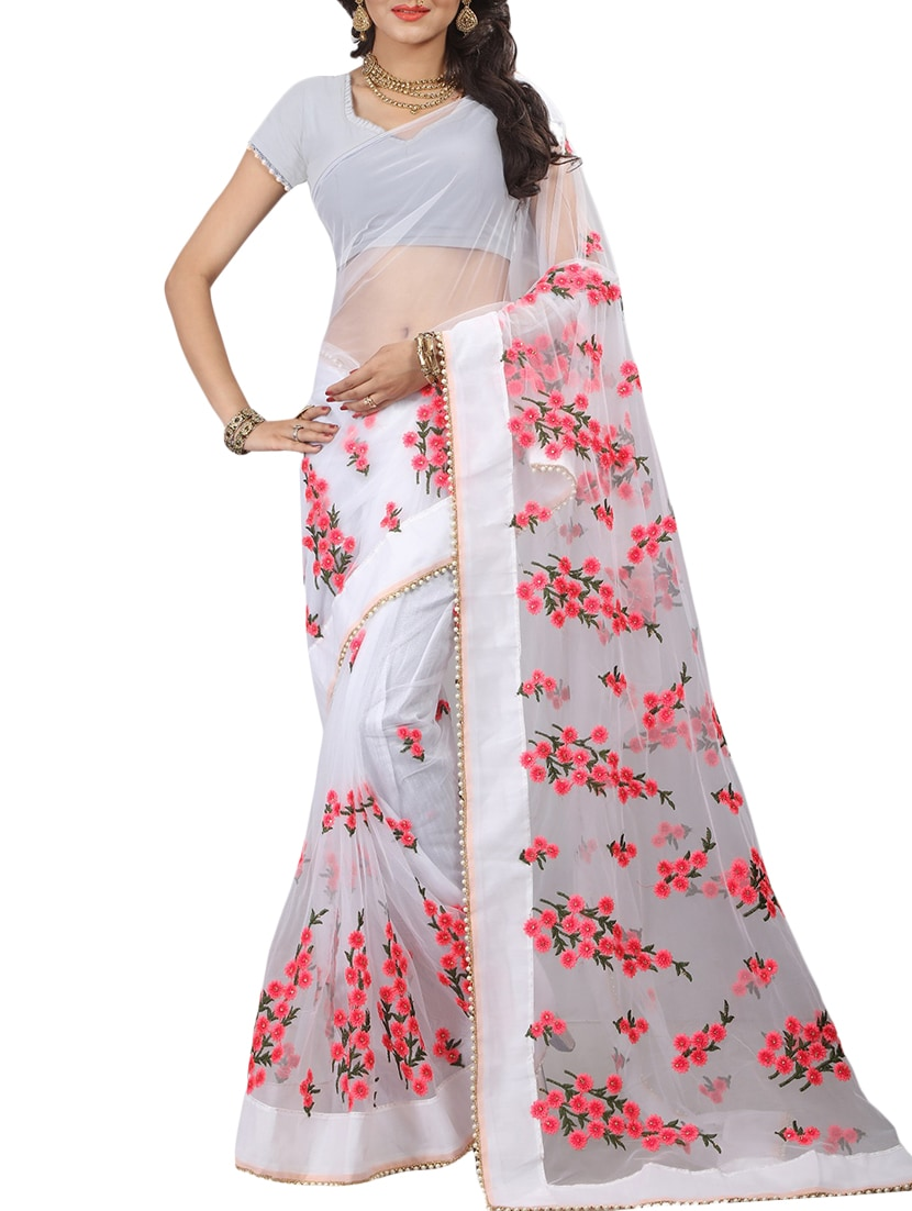 Buy White Embroidery Work Saree With Blouse By Orangesell Online