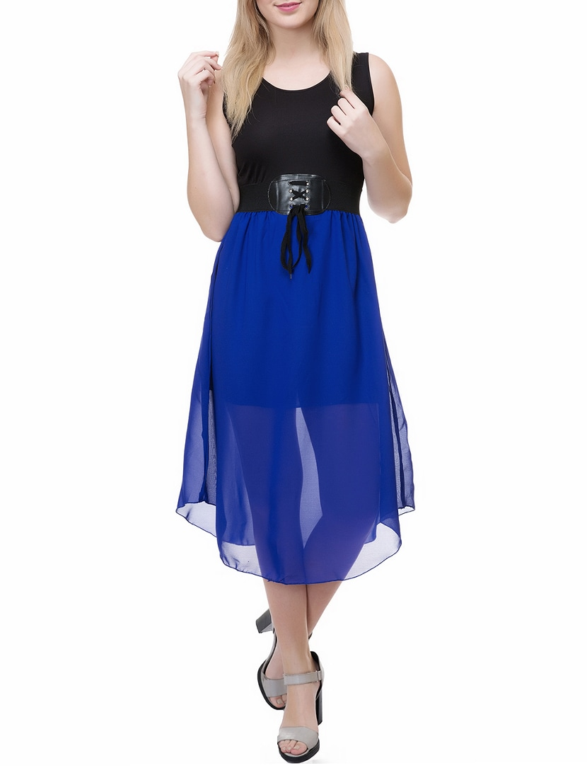c4619f0f6f5 Buy Solid Blue Georgette Belted Dress for Women from Skm for ₹589 at 61%  off