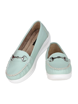 sea green resin slip on loafers - 15173292 - Standard Image - 4