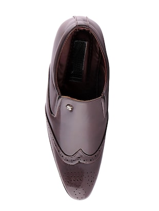 brown leatherette formal slip on - 15173373 - Standard Image - 4