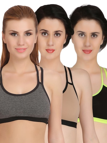 Set of 3 multicolored sports bras - 15175207 - Standard Image - 1