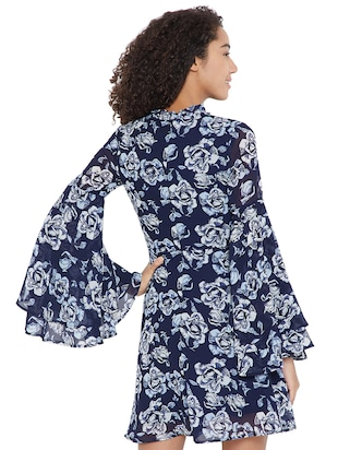 navy blue floral a-line dress - 15175699 - Standard Image - 4