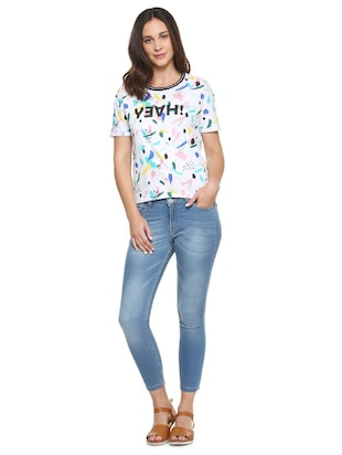 white printed cotton tee - 15175918 - Standard Image - 4
