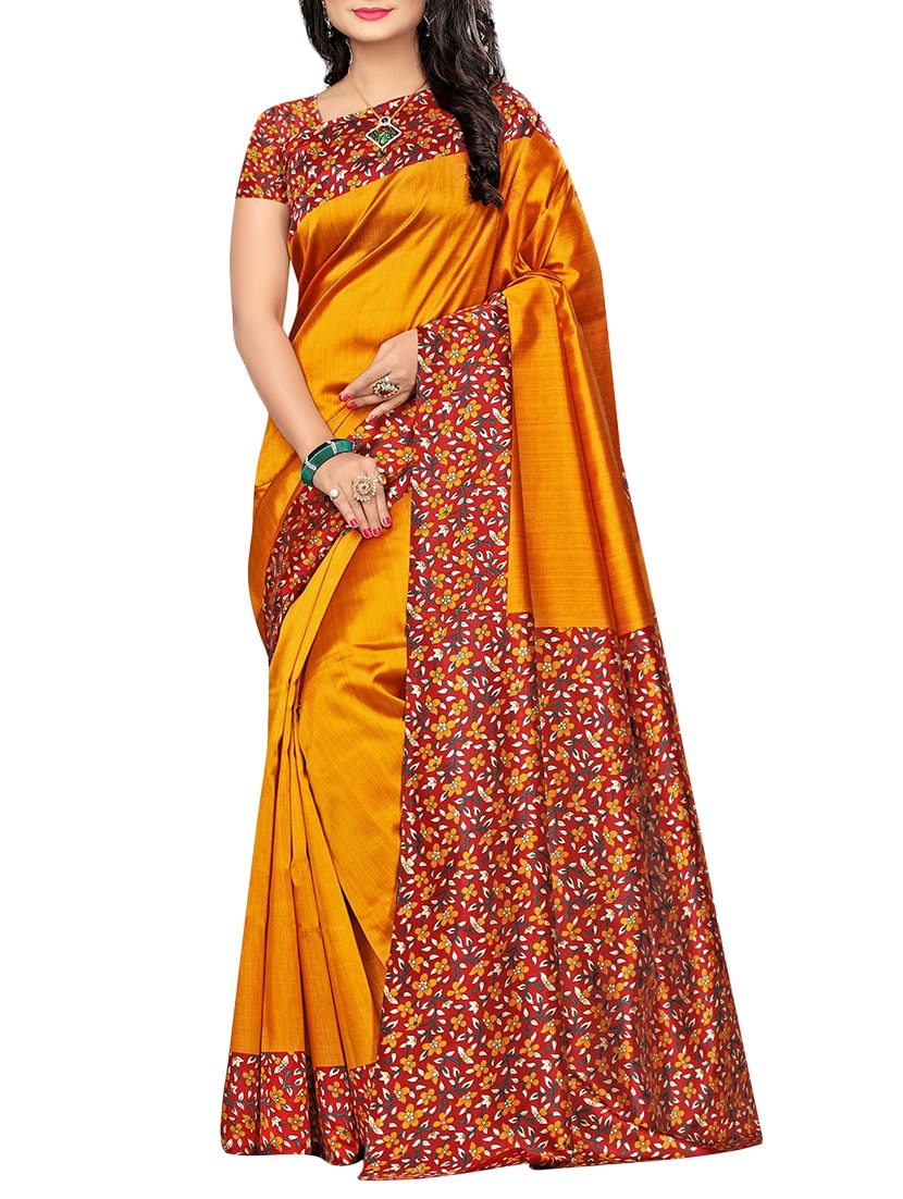 f3476e7cf50 ... set of 2 multicolor silk blend printed saree combo with blouse -  15176557 - Zoom Image