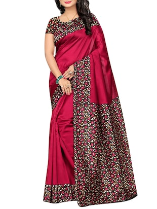 set of 2 multicolor silk blend printed saree combo with blouse - 15176573 - Standard Image - 4