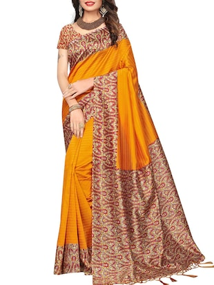 set of 2 multicolor silk blend printed saree combo with blouse - 15176580 - Standard Image - 4