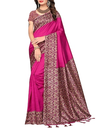 set of 2 multicolor silk blend printed saree combo with blouse - 15176588 - Standard Image - 4