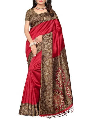 set of 2 multicolor silk blend printed saree combo with blouse - 15176605 - Standard Image - 4