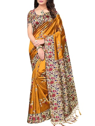 set of 2 multicolor silk blend printed saree combo with blouse - 15176616 - Standard Image - 4