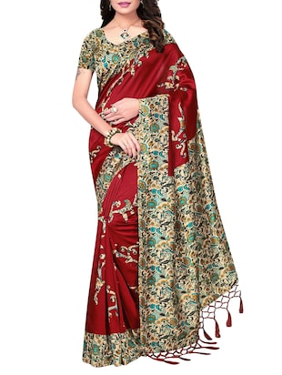 set of 2 multicolor silk blend printed saree combo with blouse - 15176618 - Standard Image - 4