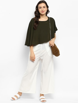 Olive green solid layered top - 15177092 - Standard Image - 4