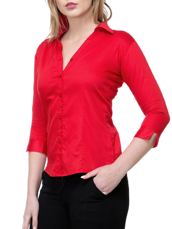 b7de58a3b3841 Buy Solid Red Satin Shirt for Women from Stanvee for ₹529 at 47% off