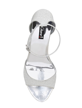 silver faux leather ethnic sandals - 15177310 - Standard Image - 4