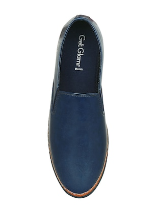 blue leatherette casual slipon - 15177334 - Standard Image - 4