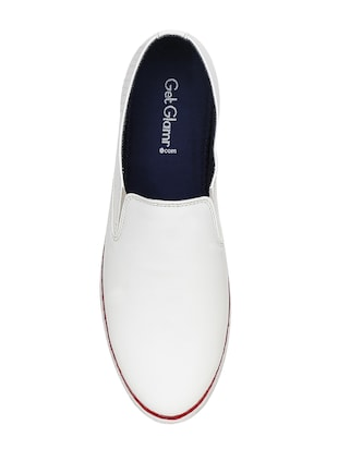 white leatherette casual slipon - 15177335 - Standard Image - 4