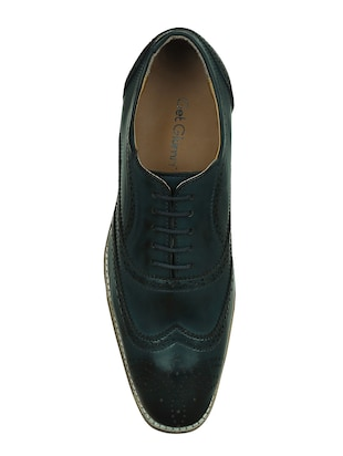 blue leatherette lace-up brouge - 15177347 - Standard Image - 4