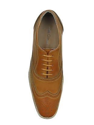 tan leatherette lace-up brouge - 15177348 - Standard Image - 4
