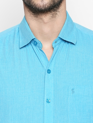 turquoise cotton casual shirt - 15180283 - Standard Image - 4