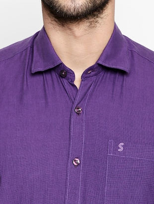 purple cotton casual shirt - 15180284 - Standard Image - 4