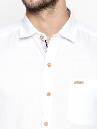 white cotton linen casual shirt - 15180286 - Standard Image - 4