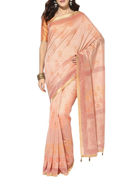 Buy Peach Chanderi Saree With Blouse By Indian Dobby Online