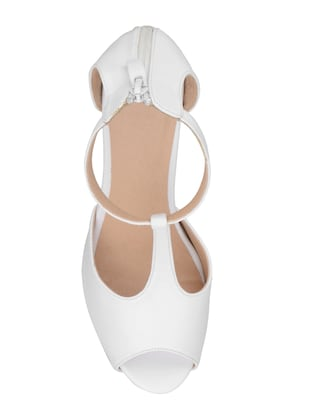 white faux leather ankle strap sandals - 15181054 - Standard Image - 4
