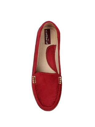 maroon faux leather slip on loafers - 15183849 - Standard Image - 4