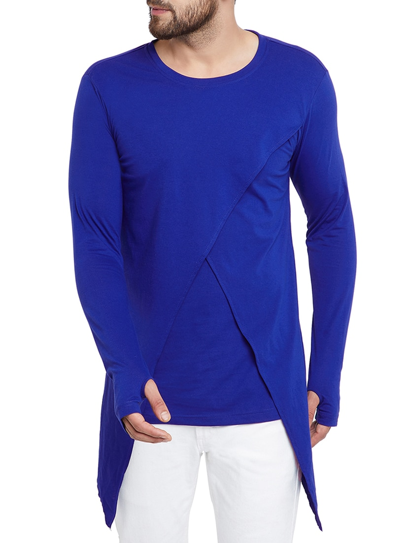 new concept 8be71 22f49 blue solid thumb hole t-shirt