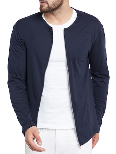 navy blue cotton blend casual jacket - 15187337 - Standard Image - 1