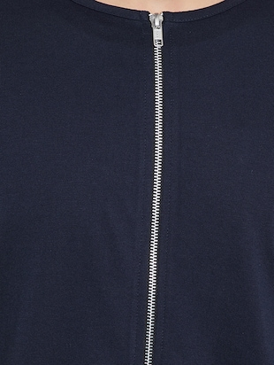 navy blue cotton blend casual jacket - 15187337 - Standard Image - 4