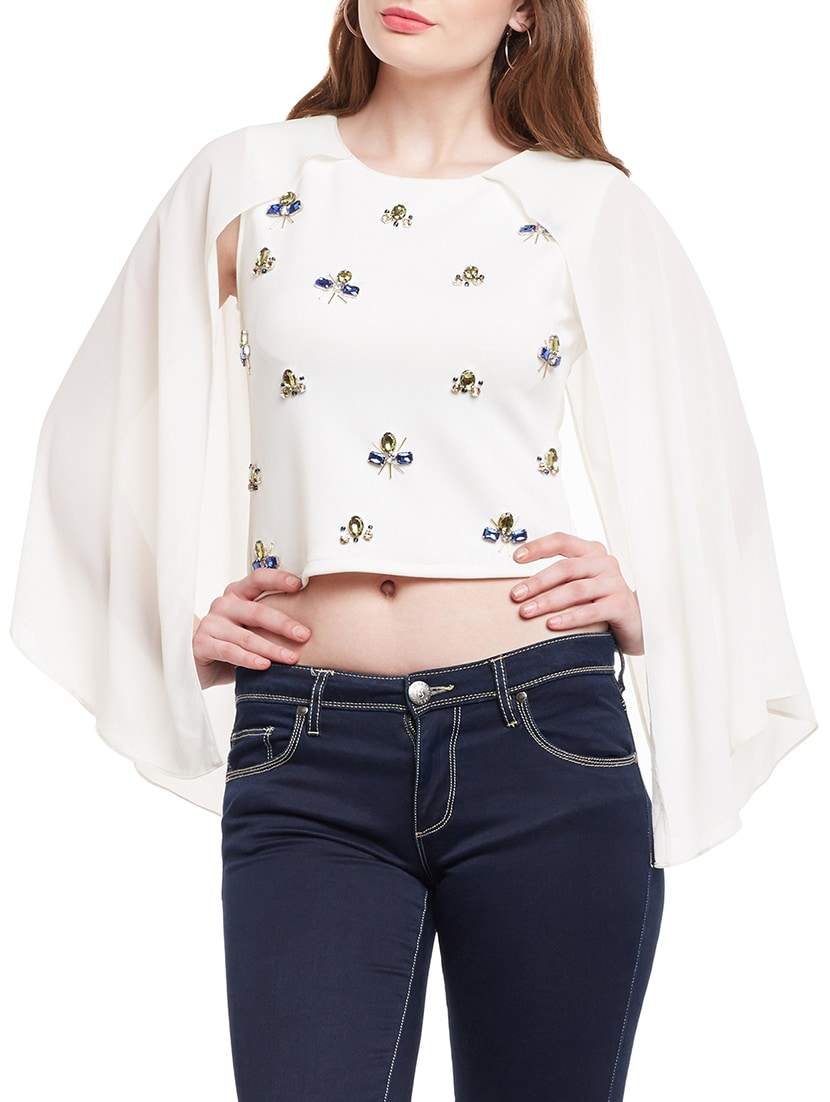 c94a54c44d8e1 Buy White Embellished Crop Top for Women from Martini for ₹1204 at 27% off