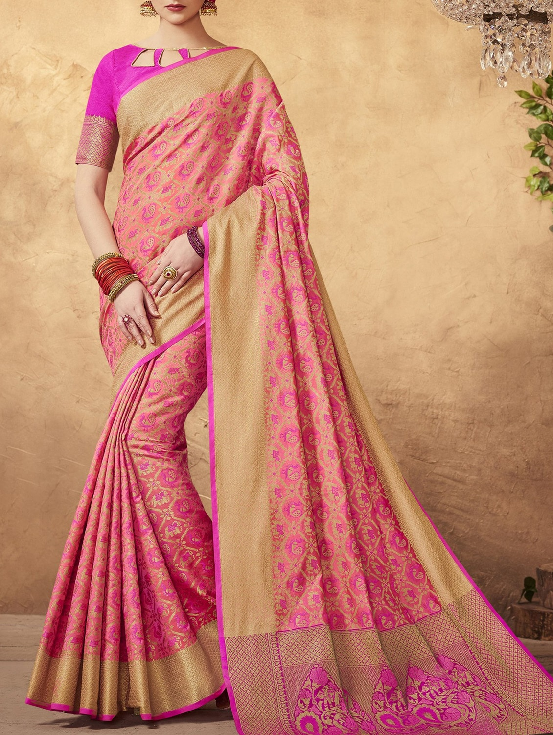 a35fa942f8 Pink Silk Patola Saree With Blouse