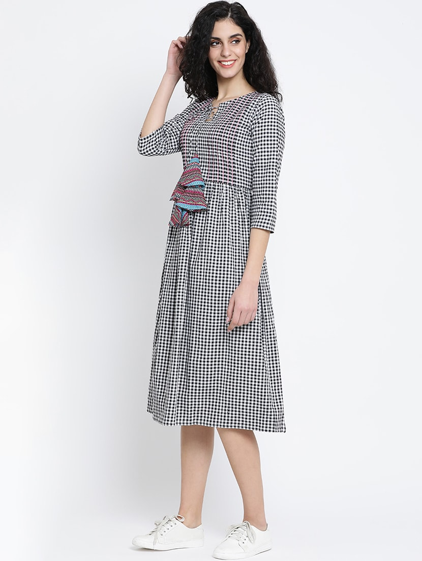 71d69d85a9 Black Checkered Cotton A Line Dress
