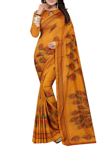 53ecf646dc7b05 Buy Sky Blue Silk Blend Printed Saree With Blouse for Women from ...