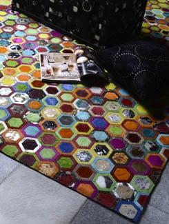 Multicolor Hexagon Print Carpet - Lthr