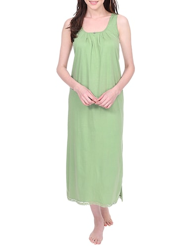Buy Green Satin Plain Sleeveless Nighty by Clovia - Online shopping for  Sleepshirts   Nighties in India  0aecd623b
