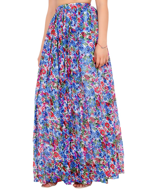 706a95a11854 Buy Blue Printed Georgette Maxi Skirt for Women from Cation for ₹900 at 55%  off