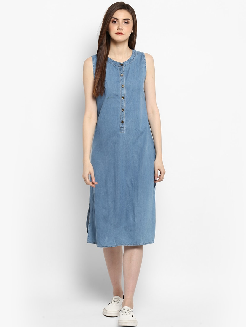 21d4cceb95 Buy Blue Solid A-line Denim Dress by Stylestone - Online shopping for  Dresses in India