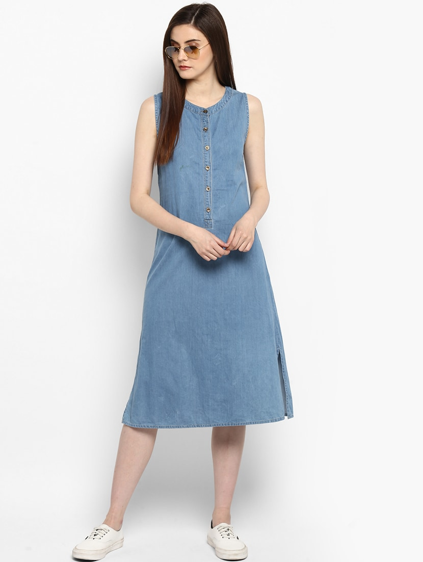 f397ba3244 Buy Blue Solid A-line Denim Dress for Women from Stylestone for ...