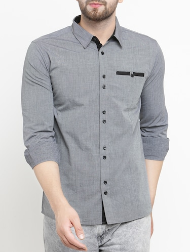 grey cotton casual shirt - 15206158 - Standard Image - 1