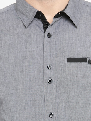 grey cotton casual shirt - 15206158 - Standard Image - 4
