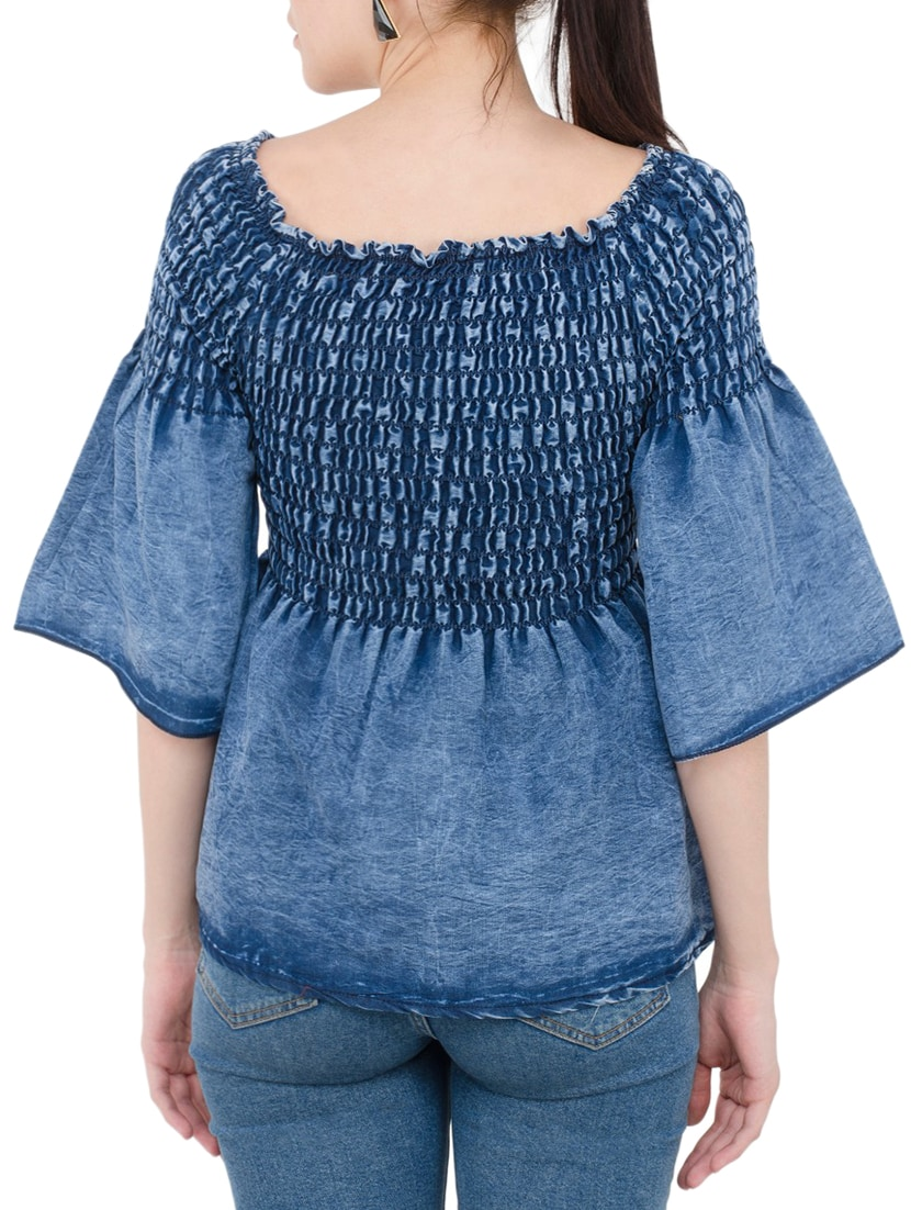 a3f2ca77a69ad4 Buy Smocked Bell Sleeved Denim Top for Women from Buynewtrend for ₹481 at  63% off