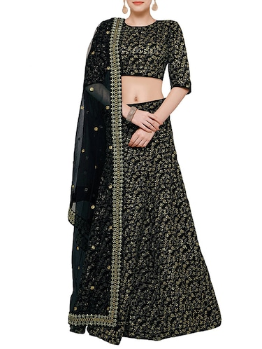 black sequined flared lehenga - 15212743 - Standard Image - 1