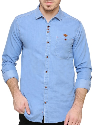 blue denim casual shirt - 15217363 - Standard Image - 1