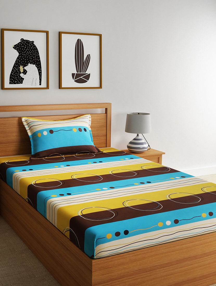 c790a972fe 100% Cotton Single Bedsheet With 1 Pillow Cover