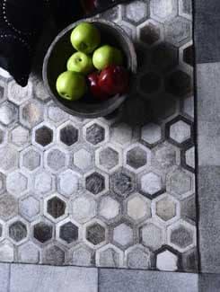 White Hexagon Pattern Carpet - Lthr