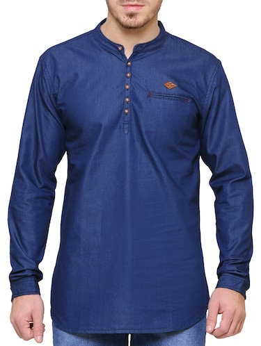 8b4e7a072c0 Buy Solid Light Blue Denim Kurta for Men from Kuons Avenue for ₹1319 at 37%  off