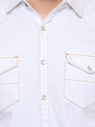 white denim casual shirt - 15218648 - Standard Image - 4