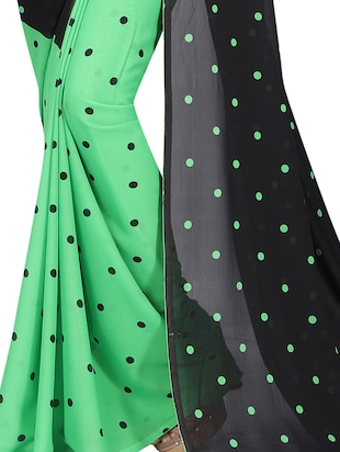 green georgette printed saree with blouse - 15218960 - Standard Image - 4