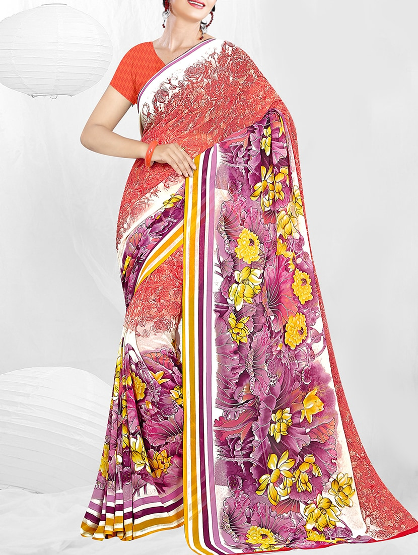 62a83eee3b75cd Buy Red Printed Saree With Blouse for Women from Sidhidata Textile for ₹624  at 75% off | 2019 Limeroad.com